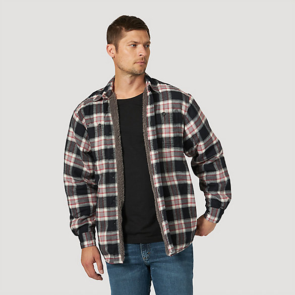 Men's Wrangler® Heavyweight Plaid Sherpa Lined Shirt Jacket | Mens .