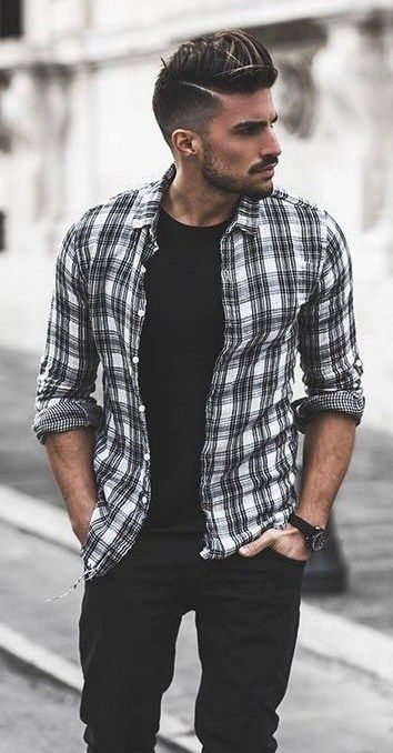 All About The Flannel Shirts | Black shirt outfit men, Black shirt .