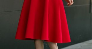 Red Zipper Draped High Waisted A-Line Vintage Flared Skirt .