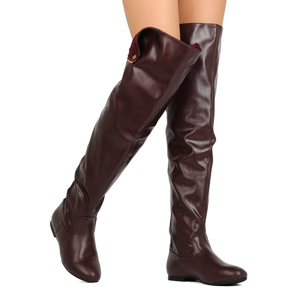 Women Over The Knee Flat Boots Snap Cuff Back Zipper Fashion Long .