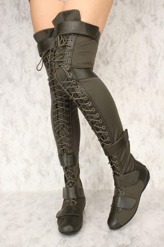 Sexy Olive Lace Up Thigh High Flat Boots Faux Leath