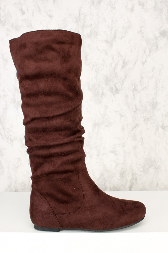 Sexy Brown Slouchy Knee High Flat Boots Faux Sue