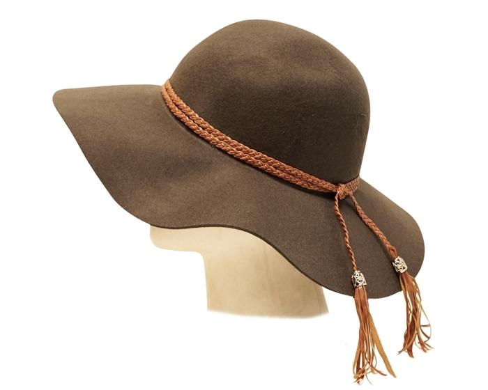 Wholesale Floppy Hats - Wide Brim Wool Felt Hat with Tasse