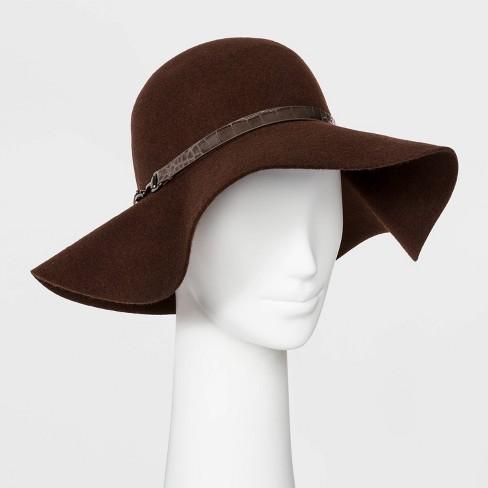 Women's Felt Wide Brim Floppy Hat - A New Day™ Brown : Targ