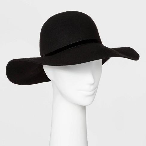 Women's Felt Floppy Wide Brim Hat - A New Day™ Black : Targ