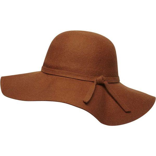 Dorothy Perkins Tan felt floppy hat ($22) ❤ liked on Polyvore .