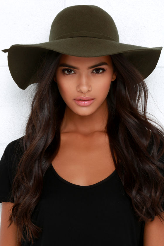 Olive Green Hat - Wool Hat - Floppy Hat - $27.