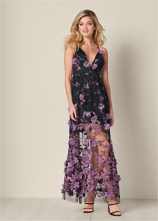 3D Floral Long Dress in Black Multi | VEN