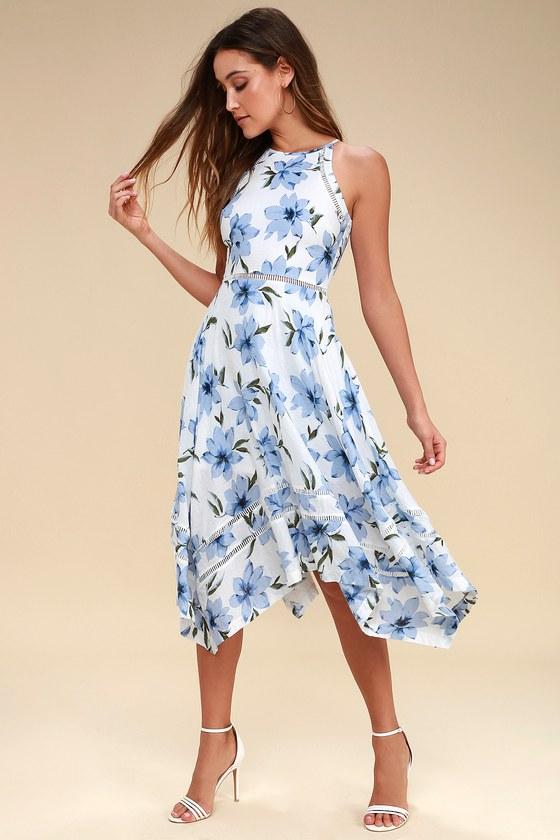 Lovely Blue and White Dress - Floral Print Dress -Midi Dre