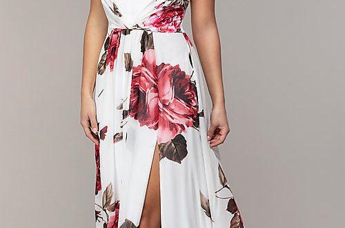 Long V-Neck Floral-Print Prom Dress - PromGi