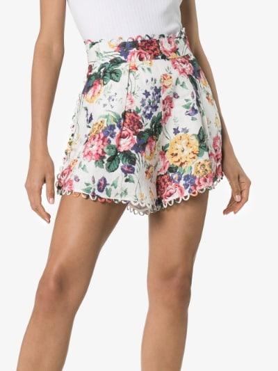 Zimmermann Allia high-waisted floral shorts   Brow