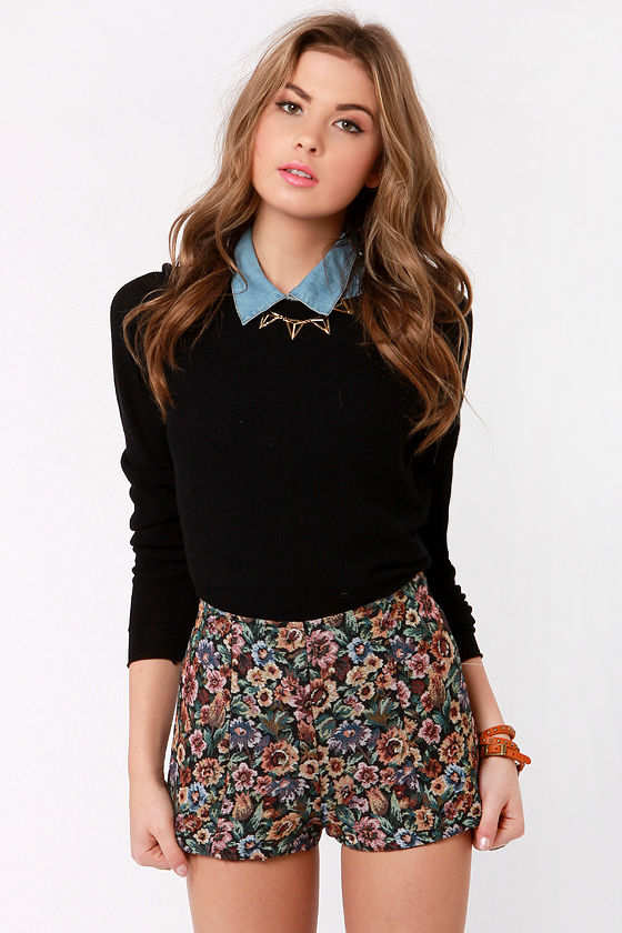 Cute High-Waisted Shorts - Floral Shorts - Tapestry Shorts - $41.