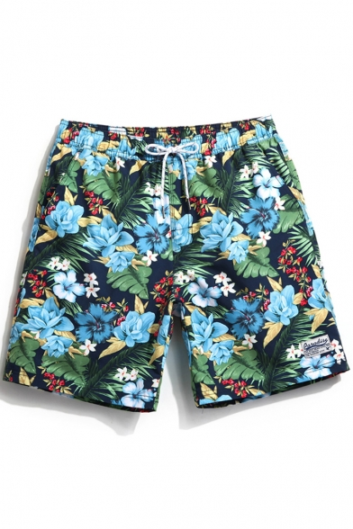 Awesome Fast Dry Men's Navy Blue Floral Tropical Print Swimming .