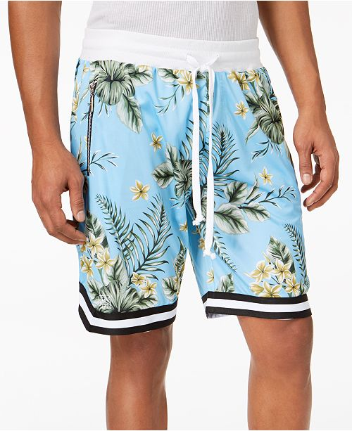 American Stitch Men's Floral-Print Mesh Drawstring Shorts .