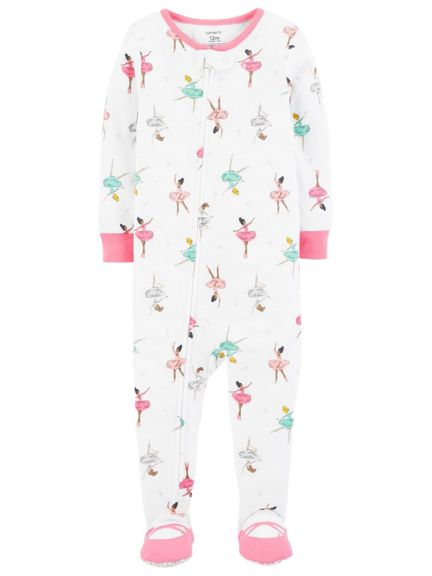 Carter's Baby Girls' 1-Piece Footed Pajamas - white/multi, 12 mont