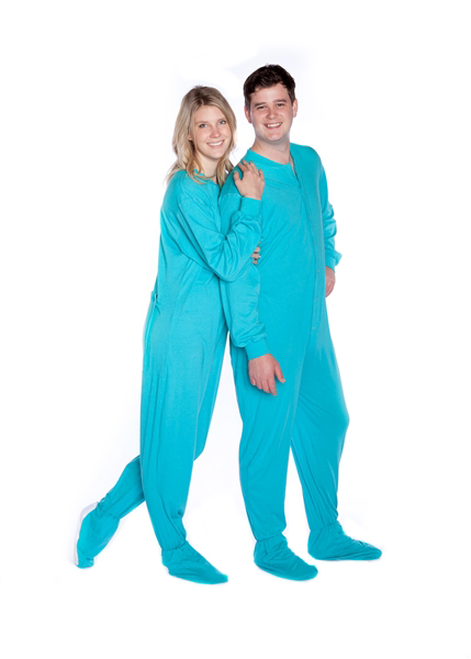 Big Feet PJs Turquoise Jersey Knit Adult Sleeper Footed Pajamas w .