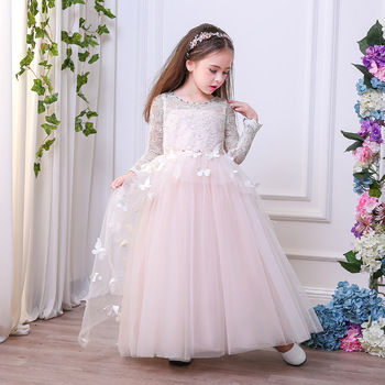 Little brides bridesmaid wedding gown lace flower girl dress with .