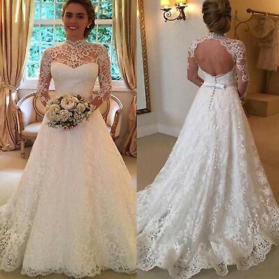 Women Wedding Dress Bridal Formal Gown Lace Long Sleeve Backless .