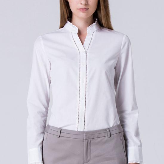 China Custom Women Formal Shirts Designs Long Sleeve Button Down .