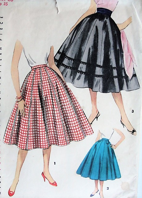 1950s CLASSIC Full Skirt Simplicity 1087 Waist 26 Vintage Sewing .