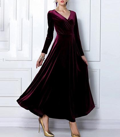 Red Velvet Evening Gown - V Neckline / Long Sleeves / Full Skirt .
