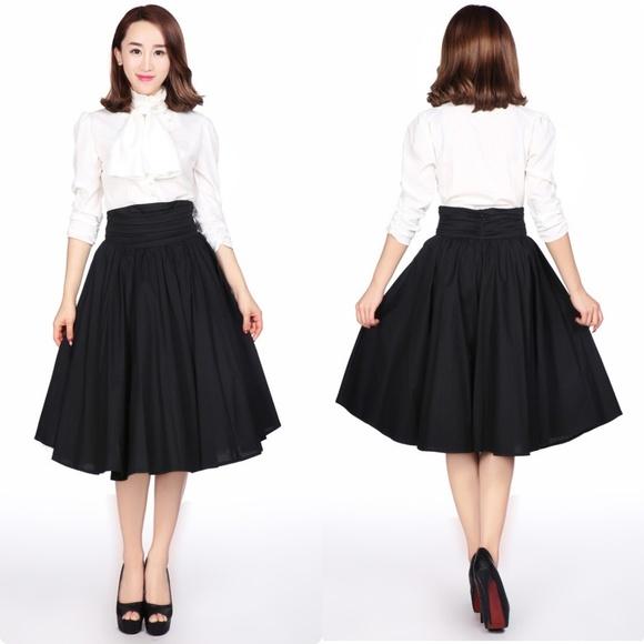 CS Skirts | Plus Size Pin Up Clothing Full Circle Skirt Black .