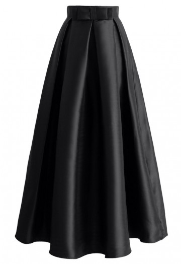 Bowknot Pleated Full Maxi Skirt in Black - Retro, Indie and Unique .