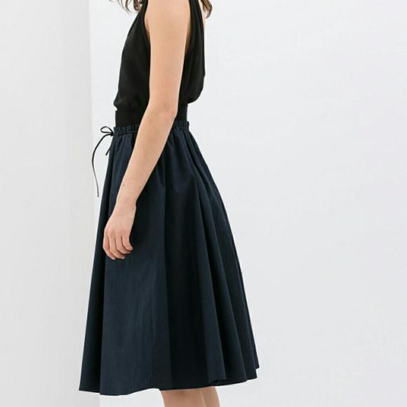 Zara Skirts | Navy Blue Poplin Full Skirt | Poshma