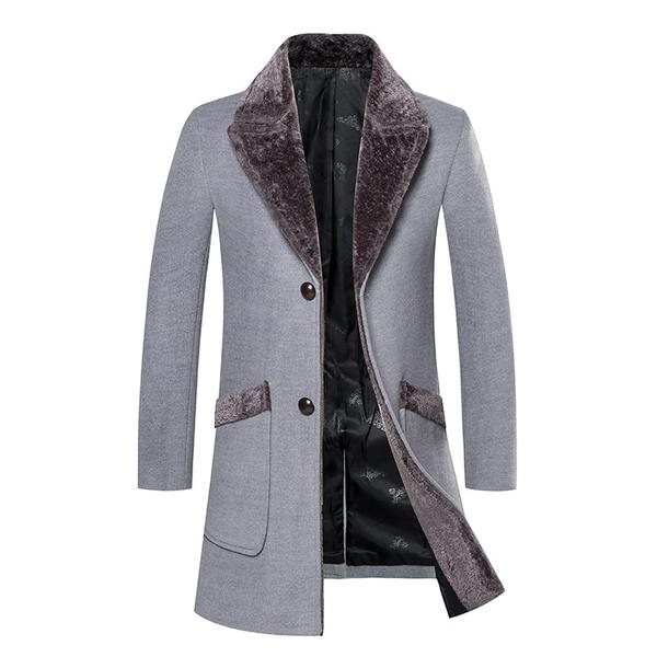 Overcoat Male Wool Blend Mid Long Winter Coat Men With Fur Collar Co