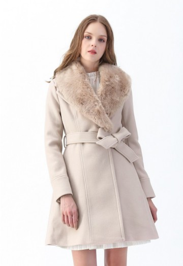 Faux Fur Collar Belted Flare Coat in Nude Pink - Retro, Indie and .