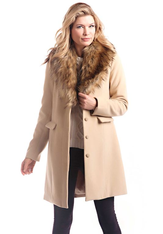 Camel Faux Wool Knee-Length Coat with Faux Fur Collar | Womens .