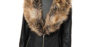 Women's Black Faux Leather Zip Coat with Faux Fur Coll