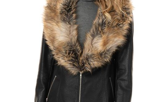 Women's Black Faux Leather Zip Coat with Faux Fur Coll