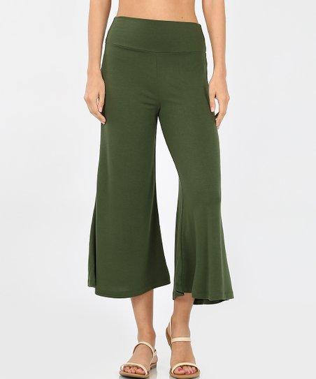Zenana Army Green Gaucho Pants - Women | Zuli
