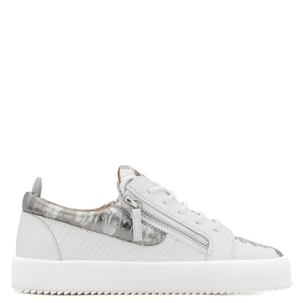 GIUSEPPE ZANOTTI Gail Metallic Low Top Women's Sneaker, White .