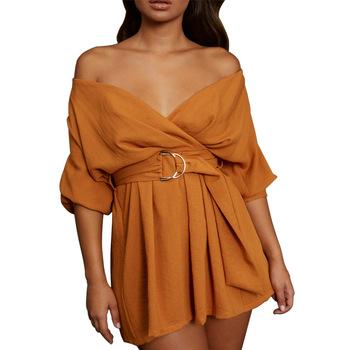 Women Off Bardot Mini Wrap Burnt Orange Casual Spring Going .