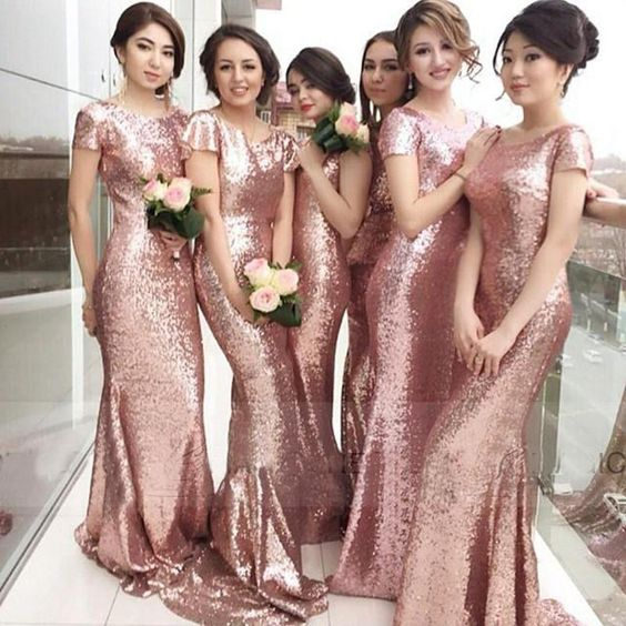 Long Bridesmaid Dresses, Sequin Bridesmaid Dresses, Rose Gold .