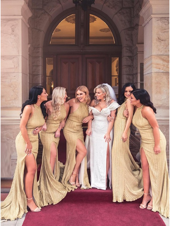 Buy Sheath Halter Long Gold Bridesmaid Dress with Split Backless .