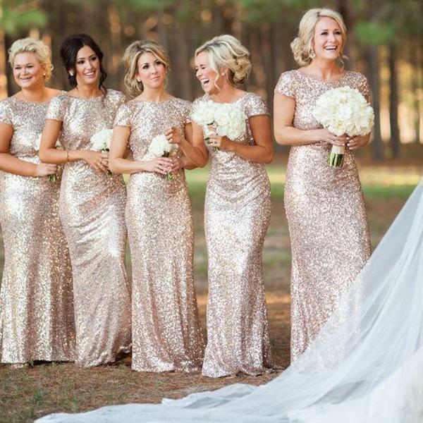Mermaid Cap Sleeve Bridesmaid Dress,Sequin Bridesmaid Dress .
