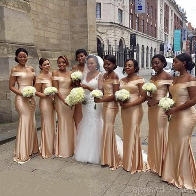 Champagne Gold Floor Length Simple Mermaid Cheap Bridesmaid .