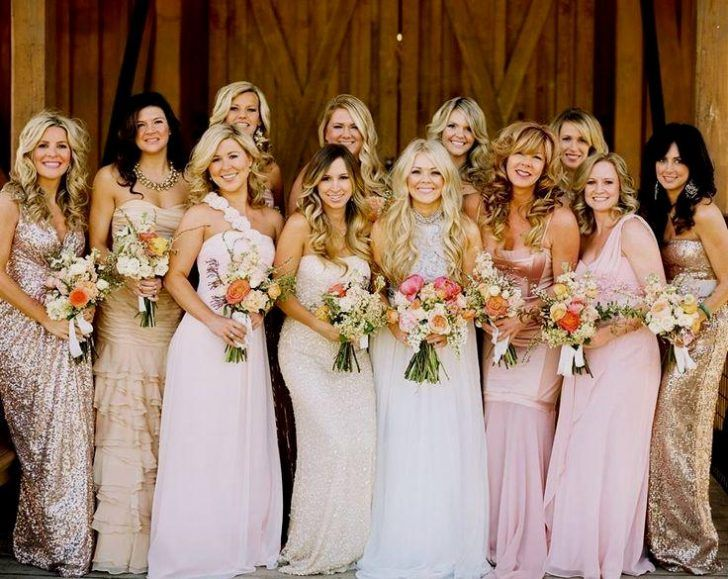 Blush Pink + Gold Bridesmaids | Gold bridesmaid dresses, Wedding .