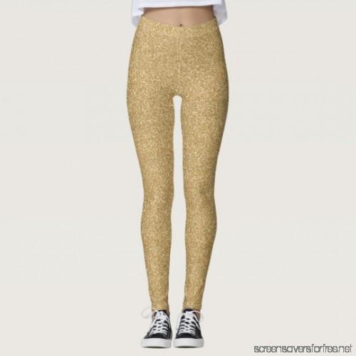 Gold Glitter Leggings Full length leggings - W9M9QAZ