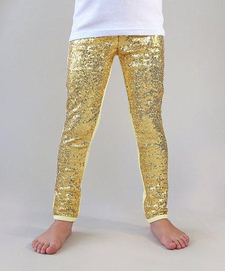 Whitney Elizabeth Gold Sequin-Front Metallic Leggings - Newborn .
