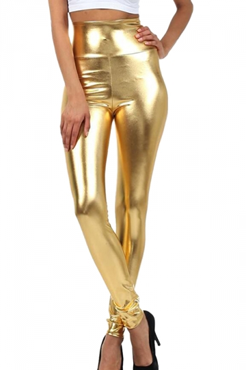 Womens High Waist Skinny Ankle Length Faux Leather Leggings Gold .