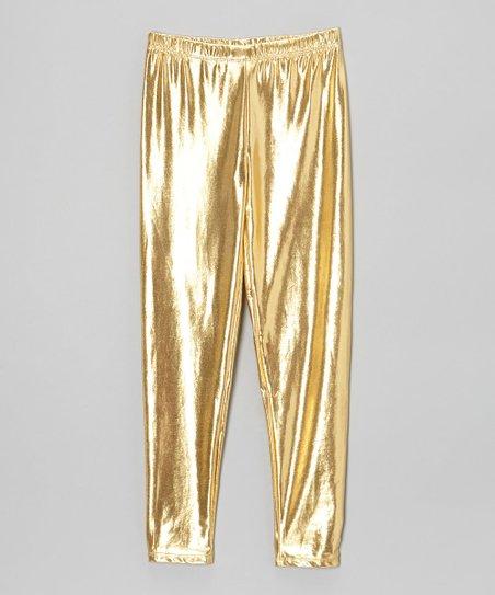 Chillipop Shiny Gold Leggings - Toddler & Girls   Zuli