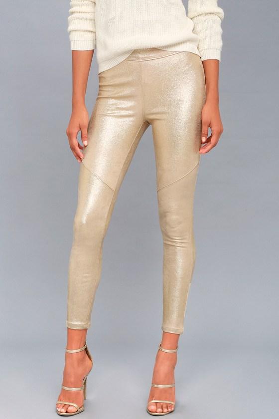 Free People Metallic Gold Leggings - Vegan Suede Leggin