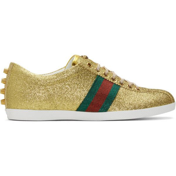 Gucci Gold Glitter Bambi Sneakers ($645) ❤ liked on Polyvore .