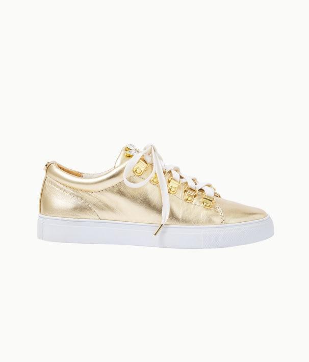 Hallie Sneaker in Gold Metallic | Lilly Pulitz