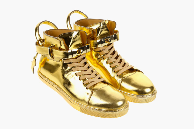 Buscemi 100mm High Top Gold Sneaker — urdesignm