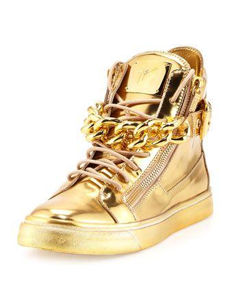 Giuseppe Zanotti Men's Metallic Chain & Zipper High-Top Sneaker .